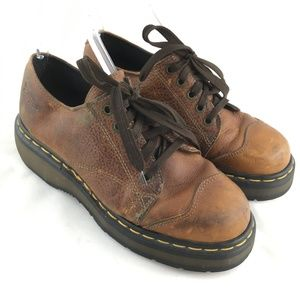 Vintage oxfords brown leather lace up chunky 8651